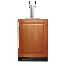24 Inch Dual Tap Overlay Solid Door Beverage Dispenser - Right Hinge Overlay Solid
