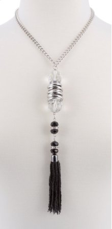 BTQ Crystal and Black Jewels on Silver Chain Necklace