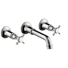 Chrome 3-hole basin mixer for concealed installation wall-mounted with spout 165 - 225 mm and cross handles