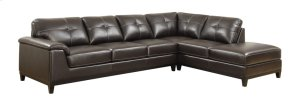 2 PC Sectional W/6 Seats-lsf Sofa-rsf Chaise-brown Pu