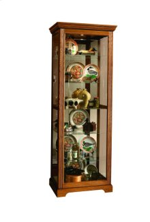 Sliding Door 5 Shelf Curio Cabinet in Golden Oak Brown