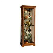Sliding Door 5 Shelf Curio Cabinet in Golden Oak Brown