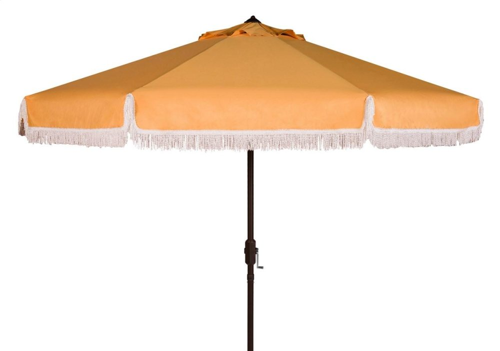 Milan Fringe 9ft Crank Outdoor Auto Tilt Umbrella - Yellow / White Trim