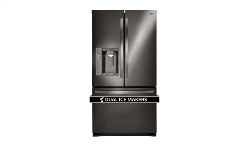 LG Black Stainless Steel 24 cu. ft. Ultra Capacity 3-Door French Door Refrigerator with Dual Ice Makers
