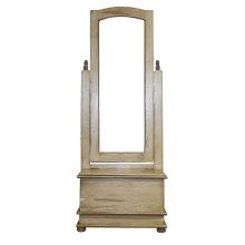 Antique White Cheval Mirror W/Storage