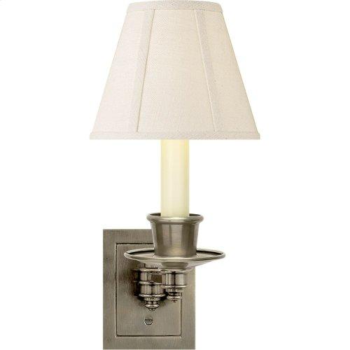 Visual Comfort S2005AN-L Studio 7 inch 40 watt Antique Nickel Swing-Arm Wall Light in Linen