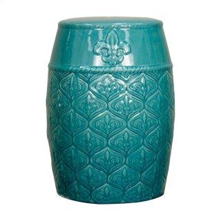 Spear Ceramic Garden Stool, Turquoise