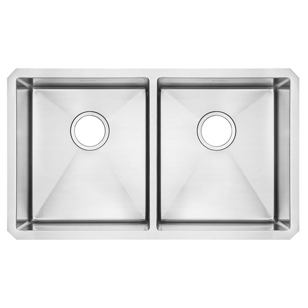 Pekoe 29x18 Double Bowl Kitchen Sink American Standard   Stainless Steel  Hidden