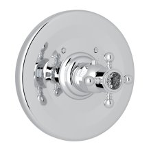 Polished Chrome Campo Thermostatic Trim Plate Without Volume Control with Crystal Cross Handle