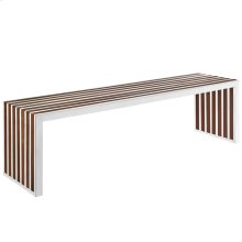 Gridiron Large Wood Inlay Bench in Walnut
