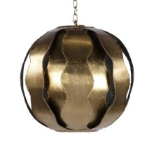 Brutalist Wave Ball Pendant In Gold Leaf