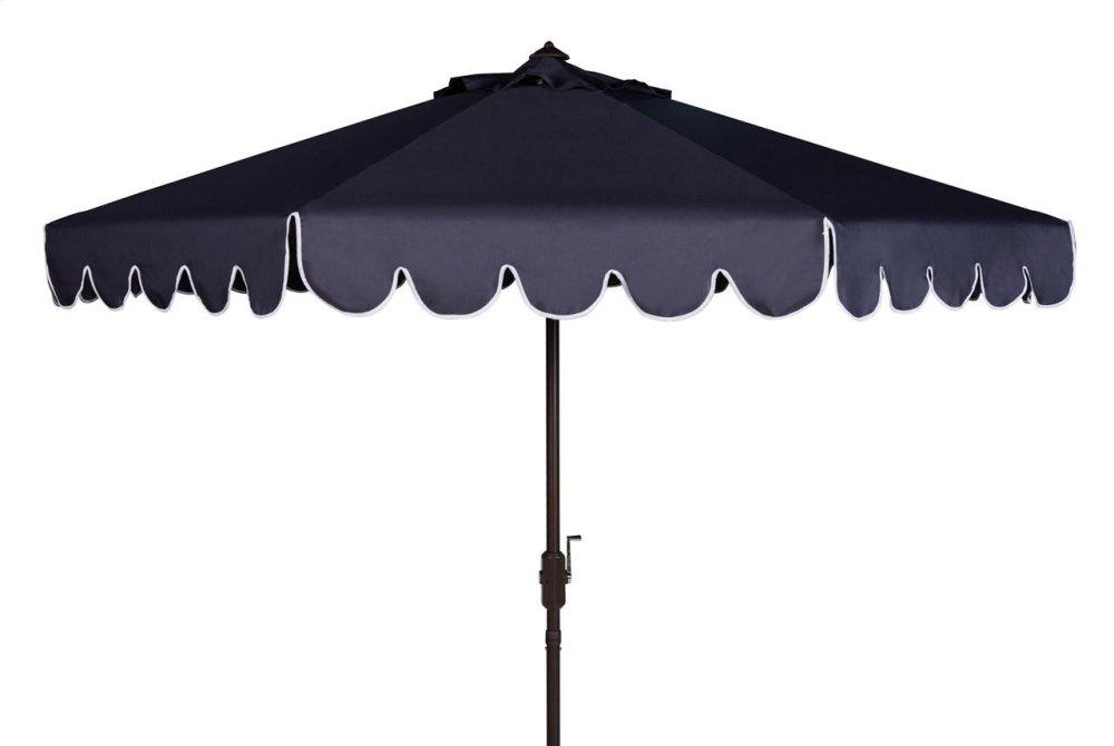 Venice Single Scallop 9ft Crank Outdoor Auto Tilt Umbrella - Navy / White