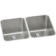 "Elkay Lustertone Classic Stainless Steel 31-1/4"" x 20"" x 7-7/8"", Double Bowl Undermount Sink with Perfect Drain"