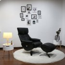 Black Top Grain Leather with Chrome Finish -360 Degree Automatic Return Swivel -Pneumatic Adjustable Recline -Articulating/Height Adjustable Headrest -Contouring Adjustable Ottoman -Top Grain Leather Product Image