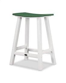 "White & Green Contempo 24"" Saddle Bar Stool"