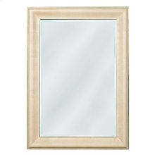 Faux Ivory Shagreen Leather Inlay Mirror with Beveled Glass
