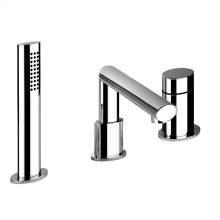 "Three-hole roman tub set Diverter Spout - Projection 7-1/8"" Handshower 59"" flex hose Handshower max flow rate 2.0 GPM Spout max flow rate 4.3 GPM at 43 PSI"