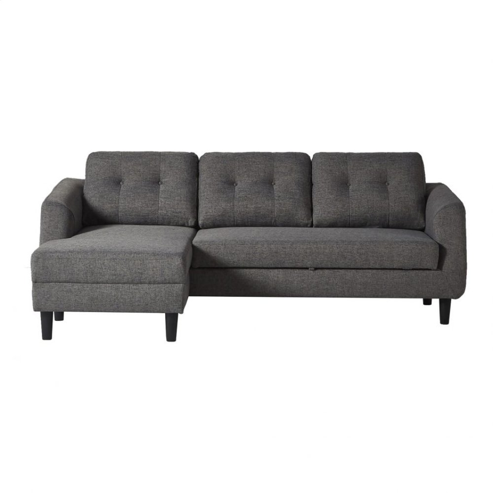 Belagio Sofabed With Chaise Charcoal Left