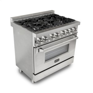 "Zline KitchenZLINE 36"" Professional Stainless Steel 4.6 cu.ft. 6 Gas Burner/Electric Oven Range (RA36)"