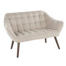 Boulder Love Seat - Walnut Wood, Beige Fabric