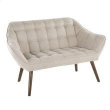 Boulder Love Seat - Walnut Wood, Beige Fabric