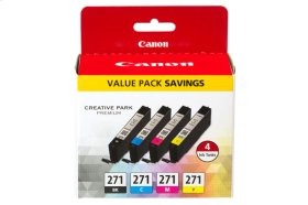 Canon CLI-271 Black, Cyan, Magenta & Yellow 4 Ink Pack CLI-271 CMYK Value Pack