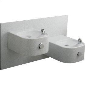 Elkay Soft Sides Bi-Level Composite Fountain Non-Filtered, Non-Refrigerated Freeze Resistant White Granite Composite