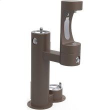 Elkay Outdoor ezH2O Bottle Filling Station, Bi-Level Pedestal with Pet Station NonFilter, NonRefrige FreezeResist Brown