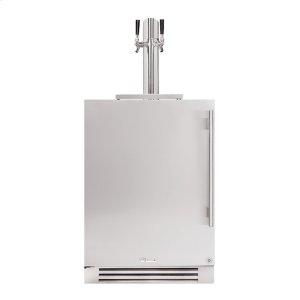 True Residential24 Inch Dual Tap Solid Stainless Door Left Hinge Undercounter Beverage Dispenser