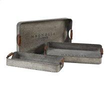 Metal Gathering Trays With Magnolia Logo - Set of 3