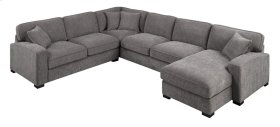 3pc-lsf Loveseat-lsf Corner Sofa-rsf Chaise W/4 Pillows-charcoal