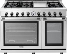 "Range NEXT 48"" Panorama Stainless steel 6 gas, griddle and 2 electric ovens, self-clean"