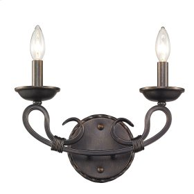 Navarro 2 Light Wall Sconce in Aged Bronze