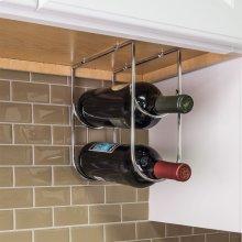 Polished Chrome Under Cabinet Wine Bottle Rack. Mounts Under the Cabinet. Holds Two Bottles
