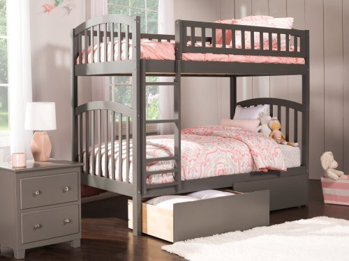 Richland Bunk Bed Twin over Twin with Urban Bed Drawers in Atlantic Grey