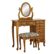 """Nostalgic Oak"" Jewelry Armoire Vanity, Mirror & Bench"