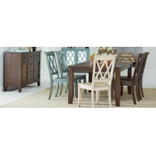 Chocolate Leg Table - Dining Table and Four Side Chairs
