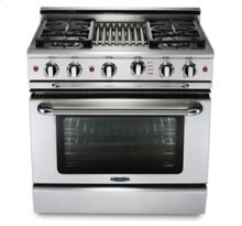 "36"" six burner gas self-clean range + convection oven - NG"
