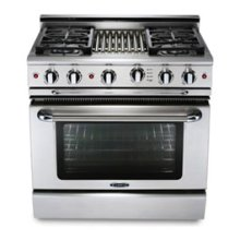 """36"""" four burner gas self-clean range w/ 12"""" Thermo-Griddle™ + convection oven - LP"""