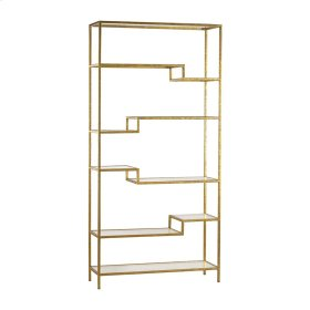 Vanguard Shelving Unit in Gold with Mirrored Surfaces