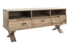"""TV Base In Rustic Birch / Top, Front and Base In Solid Wood / 3 Drawers With """"quadro"""" Slides"""