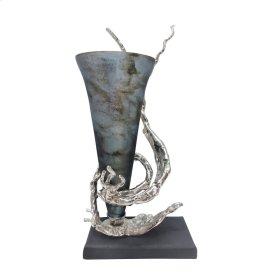 Glass Vase W/ Aluminum Base, Blue