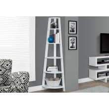 "BOOKCASE - 72""H / WHITE CORNER ACCENT ETAGERE"