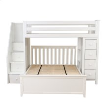 All in One Staircase Loft Bed Storage   Full Bed White