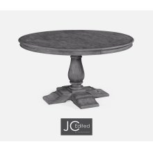 "55"" Circular Extending Dining Table in Antique Dark Grey"
