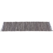 Grey Leather Chindi 2'x6' Rug (Each One Will Vary)