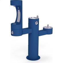 Elkay Outdoor EZH2O Bottle Filling Station Tri-Level Pedestal, Non-Filtered Non-Refrigerated Blue