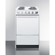 """Slide-in Electric Range In Slim 20"""" Width, With White Porcelain Construction"""