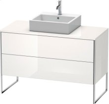 Vanity Unit For Console Floorstanding, White High Gloss Lacquer