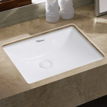 """Isabella Plus Collection 21"""" Rectangular Undermount Basin with Overflow and Rear Center Drain"""
